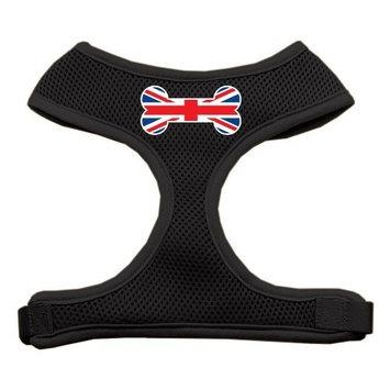 Mirage Pet Products Bone Flag UK Screen Print Soft Mesh Dog Harnesses, Small, Black