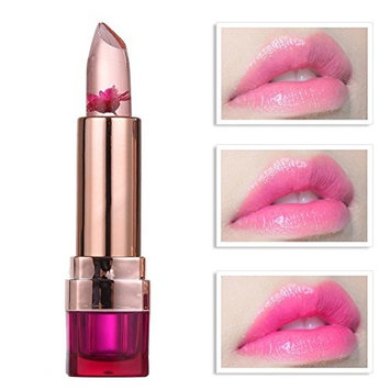 Flower Jelly Lipstick,Molie Jelly Fruit Lip Balm Stick Temperature Change Moisturizer Bright Surplus Lips Cosmetic Non-Fade