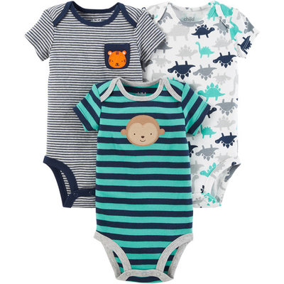 Short Sleeve Bodysuits, 3pk (Baby Boys)