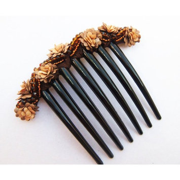 French twist hair comb Decorate Bead with Flowers made ​​from fabric Brown color.