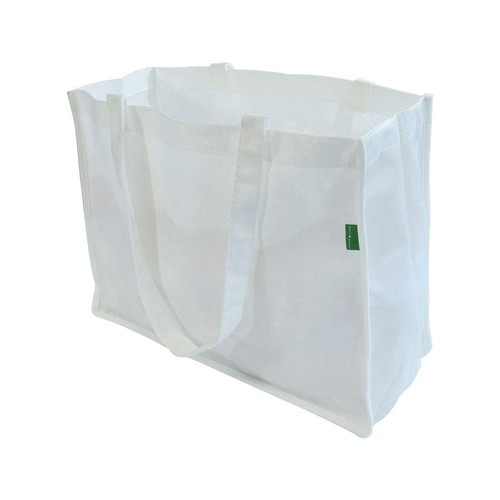 Prime Line Reusable Grocery Bags Made from Recycled Pet Bottles RPET White Pack Of 12 (16Wx12Hx6L)