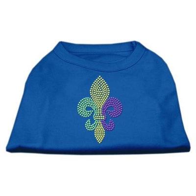 Ahi Mardi Gras Fleur De Lis Rhinestone Dog Shirt Blue Med (12)