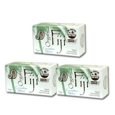 Organic Fiji Coconut Oil Soap, For Face and Body, Cucumber Melon, 7 Ounce (3 Pack)