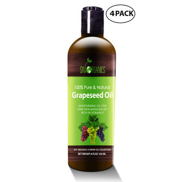 Grapeseed Oil by Sky Organics - 100% Pure, Natural & Cold-Pressed Grapeseed Oil - Ideal for Massage , Cooking and Aromatherapy- Rich in Vitamin A, E and K- Helps Reduce Wrinkles - 8oz (4 Pack)