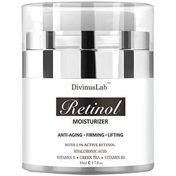 DivinusLab Retinol Moisturizer Cream - Perfect Anti Aging & Wrinkle Face Formula - With Hyaluronic Acid, Active Retinol, Vitamin E & Green Tea Extracts - Ideal For Day & Night Use 1.7 OZ