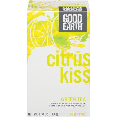Good Earth Green Tea, Citrus Kiss, Bags, 18 CT (Pack of 6)
