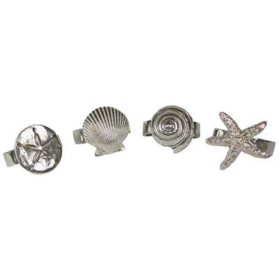 Basic Spirit Pewter Seaside Seashell Starfish Napkin Rings Set of 4