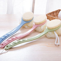 GREENANTS Easy Lotion Applicator -Back Scrubber- Long Handled Exfoliating Bath & Shower Body Brush - Men & Women , Colour: Blue, Pink, Green - Set of 3