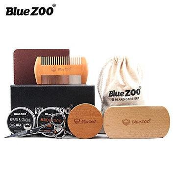 BlueZOO 7pcs/set Beard Grooming & Trimming Kit for Men Care-Styling Shaping & Growth- Beard balm+Anti-static Comb,Trimming Scissors,Boar Bristle Brush ect.
