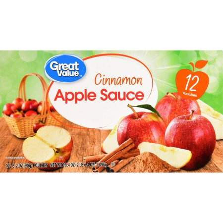 Wal-mart Stores, Inc. Great Value Cinnamon Applesauce, 12 pouches