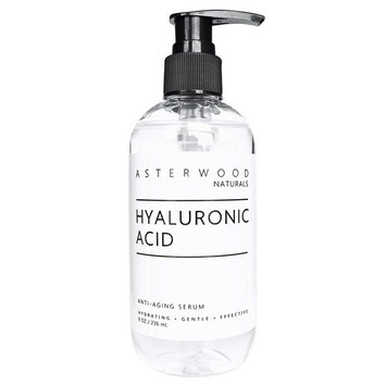 Hyaluronic Acid Serum 8 oz - 100% Pure Organic HA - Anti Aging, Anti Wrinkle - Original Face Moisturizer for Dry Skin & Fine Lines - Leaves Skin Full & Plump - ASTERWOOD NATURALS - Pump Bottle