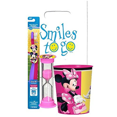 Minnie Mouse 3pc Toddler Training Oral Hygiene Bundle! Soft Manual Toothbrush, Brushing Timer & Mouthwash Rinse Cup! Plus Dental Gift Bag & Tooth Saver Necklace!