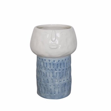 Benzara Surprised Face Ceramic Flower Pot In Blue And White