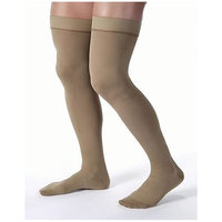 JOBST forMen Thigh High 30-40 mmHg Ribbed Dress Compression Stocking, Closed Toe, Small, Khaki