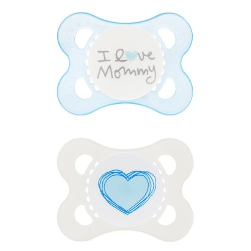 MAM Love & Affection Orthodontic Pacifier, I Love Mommy, Boy, 0-6 Months, 2-Count