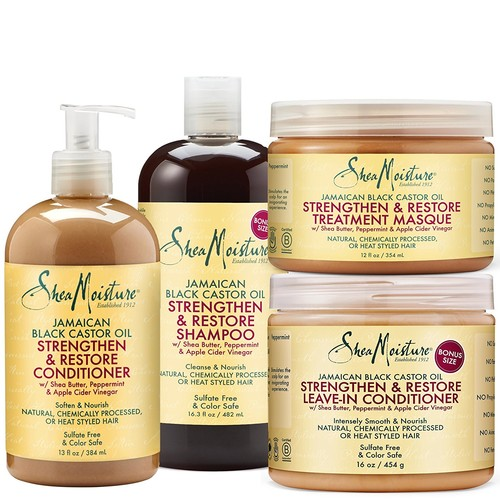 Shea Moisture Strengthen Grow & Restore Combo Bundle, Includes - 16.3 Ounce Jamaican Black Castor Oil Shampoo   16 Ounce Leave-In Conditioner   13 Ounce Conditioner   12 Ounce Treatment Masque
