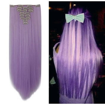 Hairpieces Clip in Synthetic Hair Extensions Japanese Kanekalon Fiber Full Head Thick Long Straight Soft Silky 8pcs 18clips for Women Girls Lady 26'' / 26 inch (Light Purple)