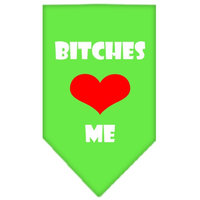 Mirage Pet Products 6607 SMLG Bitches Love Me Screen Print Bandana Lime Green Small
