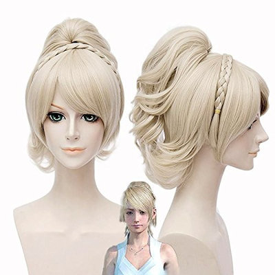 Short Bob Anime Wigs Fluffy Straight Hair Blonde Color Full Hair Cosplay Party Dress Costume Wig 14 Inches