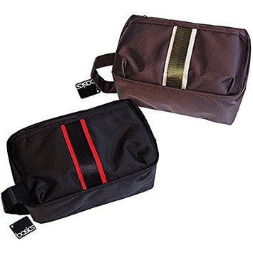 Basics Toiletry Shaving Bag Set (One Brown and one black)