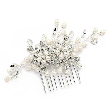 Mariell Genuine Freshwater Pearl Wedding Hair Comb - Designer Bridal Headpiece with Crystal Sprays