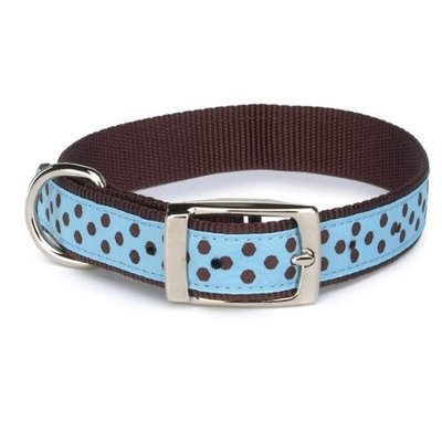 East Side Collection Dog Nylon Pastel Polka Dot Collar, 11-14-Inch, Air Blue