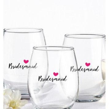 4ct Kate Aspen Bridesmaids Pink Heart 15 Oz. Stemless Wine Glass
