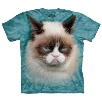 Teal 100% Cotton Grumpy Cat Realistic Graphic T-Shirt