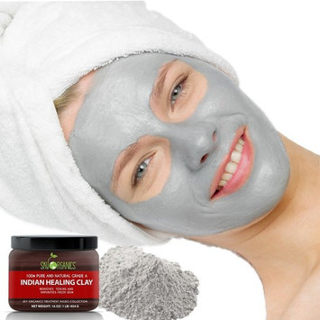 Indian Healing Clay By Sky Organics 16oz –100% Pure & Natural Bentonite Clay-Therapeutic Grade - Face Skin Care, Deep Skin Pore Cleansing, Detoxifying- Helps with Acne & Rejuvenating Skin- Made in USA