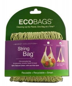 String Bag Long Handle, Natural Cotton Washed Blue 1 BAG by Eco Bags