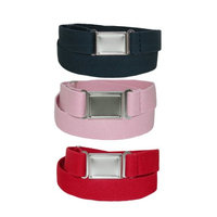 CTM® Kids Magnetic Buckle Adjustable Stretch Belt (Pack of 3 Colors), Navy Pink and Red