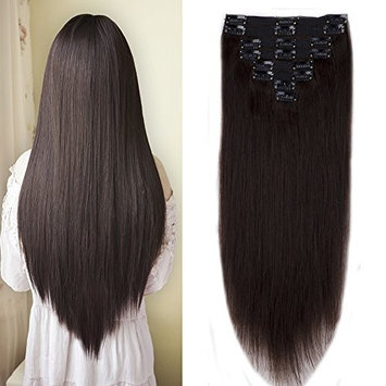 110-140g Clip in 100% Remy Human Hair Extension Grade 6A Thick Clip on with Cloth Full Head 8 Pieces 18 Clips Long Straight Natural Hair for Women (16