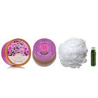 BRIGHT AUTUMN BLOOMS Bath & Body Works Body Butter, Body Scrub & Shower Puff with a Jarosa Bee Organic Peppermint Lip Balm