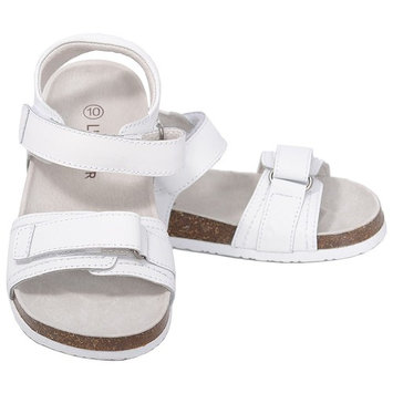 L'Amour White Soft Footbed Strap Sandals Little Girls 11-4