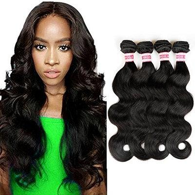 Fabeauty Brazilian 4 Bundles Body Wave Unprocessed Virgin Human Hair Weave Body Wave Hair Bundles Natural Black Mixed Length 400g