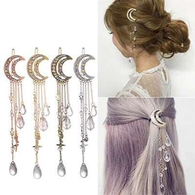 HP95 Moon Style Hairpin with Rhinestone Beads Hair Clip Crystal Bridal Jewelry Gold Silver Hollow Metal Hair Clip Pin for Women Barrettes Accessories