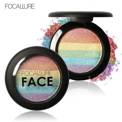 DATEWORK Rainbow Highlight Eyeshadow Palette Baked Blush Face Shimmer Color