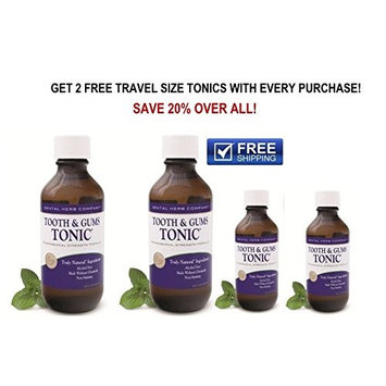 Alcohol-Free Professional Oral Rinse Dental Herb Company Healthy Tooth and Gums Tonic Pack 2 + 2 FREE Travel Size Tonic