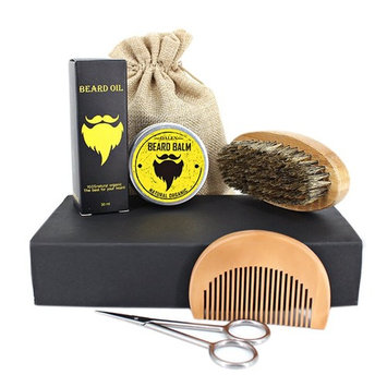 5 Set Beard Care Kit Include Oil, Balm Conditioner, Brush, Comb and Scissors for Men