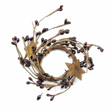 Kmi International Burgundy Berry Taper Candle Ring with Stars