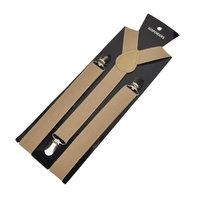 TopTie Unisex Suspenders Solid Color Y-Back Clip Suspender - 1 Inch Wide-Khaki