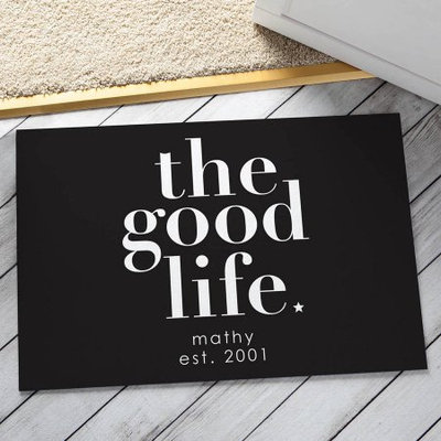 Personalized The Good Life Doormat, Black