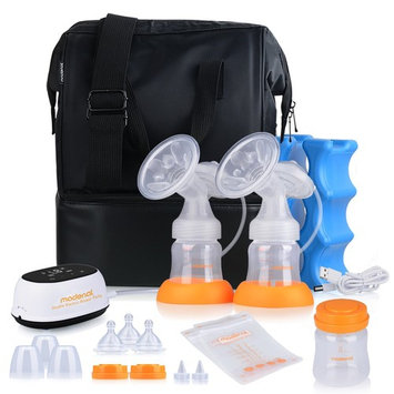 MADENAL Double / Single Electric Breast Pump Travel Set, Ice Pack, Breastmilk Storage Bags, Super Quiet, Effective and Comfortable with On the Go Cooler Bag
