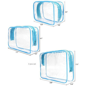 JAVOedge 3 Pack Blue and Clear PVC Toiletry Bag Set with Zipper for Vacation, Bathroom, Storage