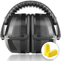G & F 34dB Highest NRR Safety Earmuffs - Professional Ear Defenders for Shooting, Adjustable Headband Ear Protection / Shooting Hearing Protector Earmuffs Fits Adults to Kids, Black