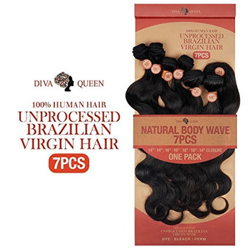 Diva Queen 100% Virgin Human Hair Unprocessed Brazilian Weave 7A Natural Body Wave 7Pcs (16
