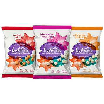 Bohana Gluten Free Popped Water Lily Seed Snack, Variety Pack 2 of Each Flavor, 2oz, (Pack of 6)