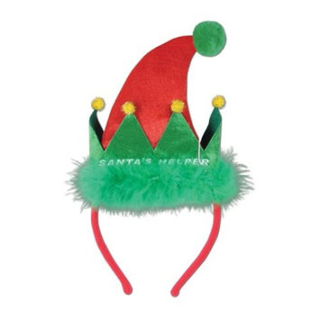 Pack of 12 Santa's Helper Snap-on Christmas Headbands One Size Fits Most