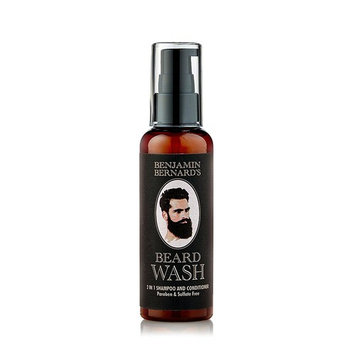 Benjamin Bernard Beard Shampoo: 2-In-1 Shampoo & Conditioner for Beards Made with 100% Natural Oils - Paraben and Sulphate-Free – 3.38 oz/100ml