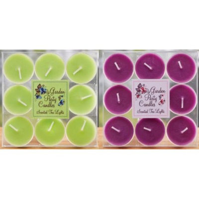 12 Garden Party Purple & Green Hibiscus Scented Tea Light Candle 9-Piece Sets